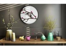 中式陶瓷花瓶干支花墙饰小猪摆件