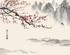 梅花山水背景墙