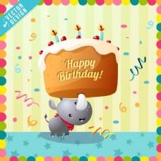 可爱的生日贺卡与犀牛