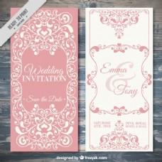 优雅的老式婚礼邀请美丽的ornamets