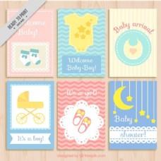 可爱婴儿淋浴卡收藏