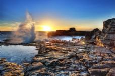 海岸日出风景摄影图片