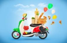 摩托车上的食物图片