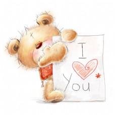 卡通小熊与贺卡图片