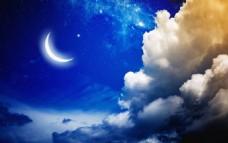 梦幻唯美的夜空弯月