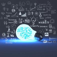 发光的灯泡与信息图表图片