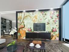 中国风花风景画玉石雕刻背景墙设计素材