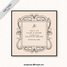 复古婚礼装饰卡
