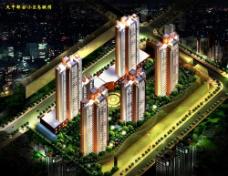 小区建筑夜景鸟瞰图片