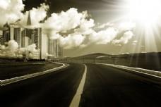 阳光明媚的城市风景图片