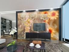 中国风豪华时尚电视背景墙设计素材