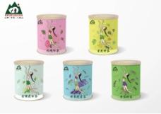 五色茶瓶罐包装 女娲补天 插画包装瓶