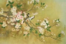 国画喜鹊花朵图片