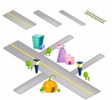 马路立体图标