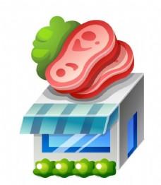肉类店铺立体图标