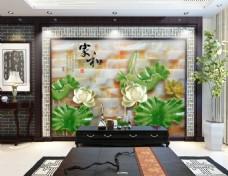 荷花风景玉石雕刻背景墙设计素材