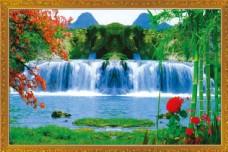 瀑布风景中堂画图片