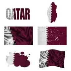 卡塔尔国旗地图图片