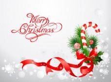 带丝带糖果圣诞装饰卡