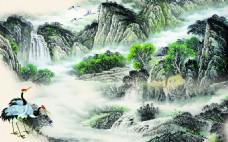 山水中式背景墙