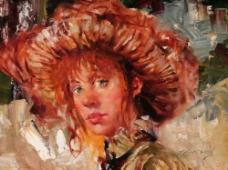 戴着帽子的西方美女油画图片