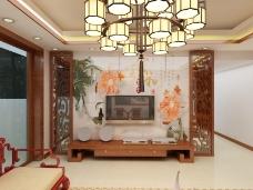 中式装修效果图 中式背景墙