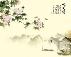 水墨花卉装饰背景墙