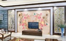 欧式花色电视背景墙设计