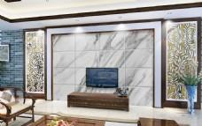 现代大理石电视背景墙设计PSD