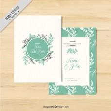 婚礼用鲜花装饰的卡片