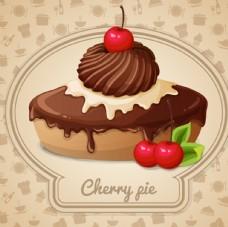 櫻桃派矢量蛋糕