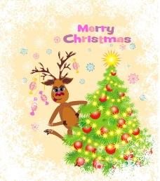 小鹿与圣诞图片