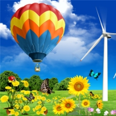 花朵热气球装饰画