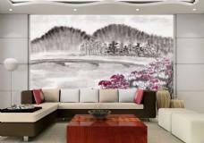水墨花卉背景墙