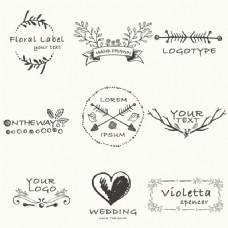 关于爱情主题的手绘徽章