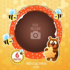 熊和蜜蜂的生日框架