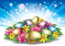 充满蛋和花的复活节背景