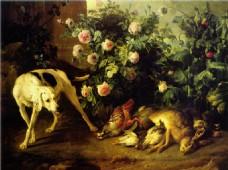 油画动物花朵装饰画