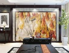 玉雕山水画时尚电视机背景墙设计素材