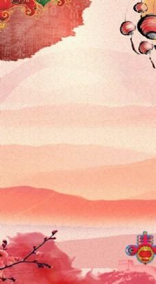 春节红色中国风H5海报背景PS