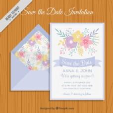 带鲜花婚礼请柬的信封