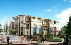 别墅喷泉景观效果图片