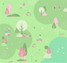 素雅春季郊外风景和人物插画矢量素材
