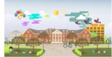 校园扁平插画