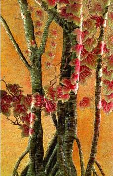 油画风格树木背景墙