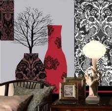 抽象花卉装饰植物背景墙