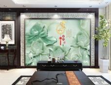 绿色玉雕中国风电视背景墙设计素材