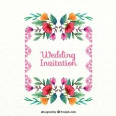 优雅的婚礼卡片水彩花卉细节