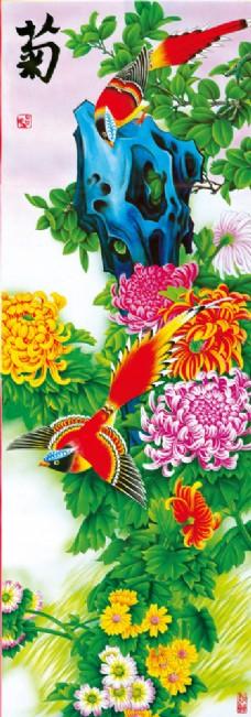 菊花与喜鹊装饰画图片