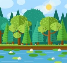 扁平化荷花池和树木风景矢量素材